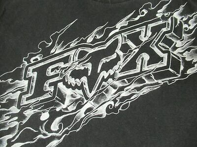 Fox Motocross Racing - Name And Logo In Flames - Xl - Black T-Shirt- Y8