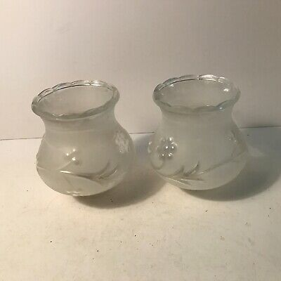 Antique matching pair frosted clear glass Art Deco bedroom table lamp shades