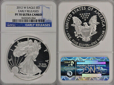 2012 W Ngc Pf70 Ultra Cameo Early Releases 1Oz .999 American Silver Eagle Coin !
