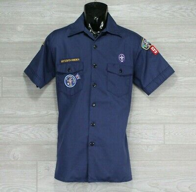 Boy Scouts Of America Navy Blue Button Up Short Sleeve Size Youth X-Large