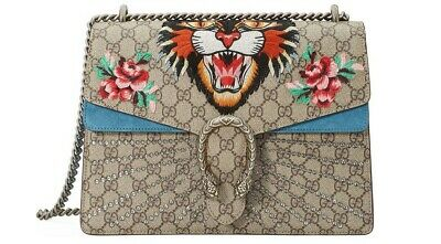 12fa7ad28 Gucci Dionysus GG supreme embroidered canvas Bag Angry Tiger Cat Bag 2018