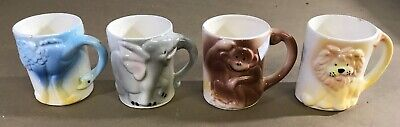 Vintage Childrens Small Hand Painted Ceramic Mugs Cups 3D Animals Set Of 4 C11