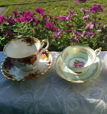 Vintage Lot English Fine Bone China Tea Cups And Saucers Paragon, Royal Albert