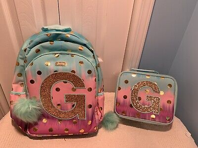 """NWT JUSTICE 'Ombre' Foil Dot'Initial """"B""""Backpack/& Lunch Tote"""