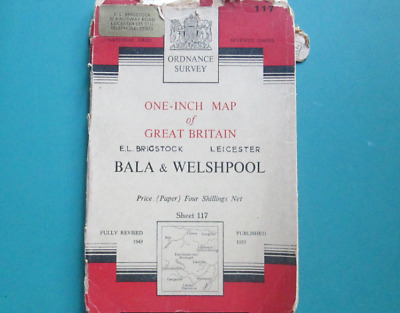 First Issue Ordnance Survey One-Inch Map Of Bala & Welshpool 1953 Map, No. 117