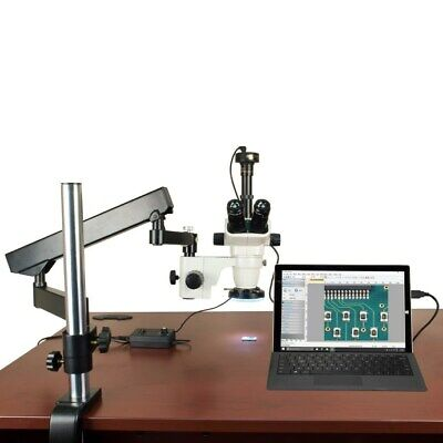 OMAX 6.7-45X Stereo Microscope+Articulat Arm Stand+144 LED Ring Light+5MP Camera