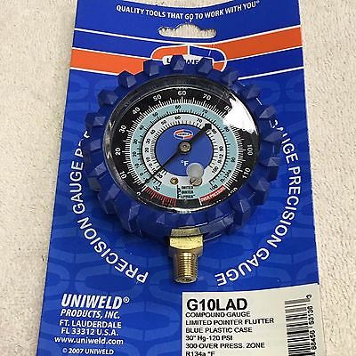 "Gauge, Refrigeration, R134A,  -30 to 300, BLUE, LOW SIDE, 2.5"", UNIWELD G10LAD"