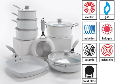 7 Piece Professional WHITE Cookware Set - Saucepan Set- -INDUCTION *REDUCED*