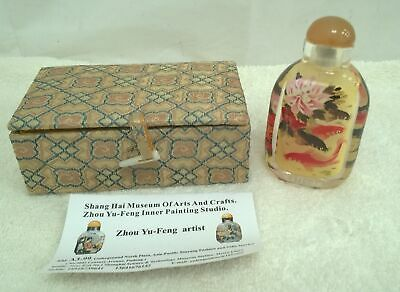 Glass Bottle Chinese Reverse Painted Bottle Koi Carp Stone Capped Boxed #875