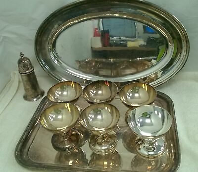 Large Selection Of Silver Plated Items Trays & Goblets 4KG #817