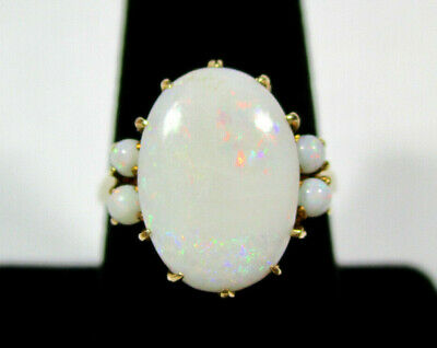 Antique Victorian Australian Opal and 10k Yellow Gold Ring Size 8