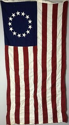 """Vintage 3' x 5'8"""" U.S. American Flag Betsy Ross Colonial 13 Star Embroidered"""