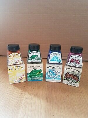 Winsor & Newton Vintage Drawing Inks x4 Green, Blue, Red, Yellow