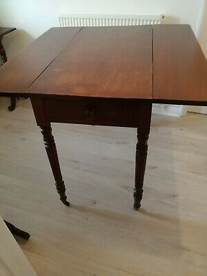 William VI mahogany dropleaf dining table c1830s antique with drawer