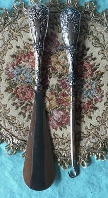 Antique Sterling Silver Victorian Button Hook and Shoe Horn