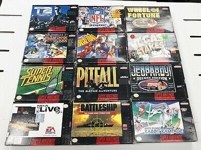 12 SNES game boxed lot Pitfall Terminator 2 Bugs Bunny Jeopardy Ncaa Battleship