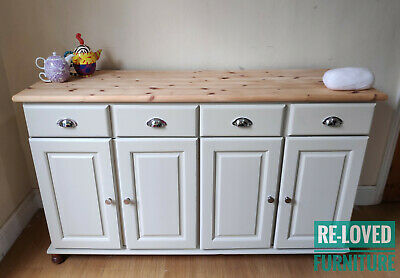 Shabby Chic Solid Pine Dresser Kitchen Sideboard - Painted - F&B Old White