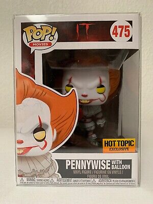 FUNKO POP IT PENNYWISE WITH BALLOON #475 HOT TOPIC EXCLUSIVE W/ Pop Protector