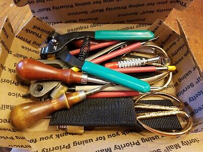 Leather working tools- crimper, hole punch, shears, stitcher, knife