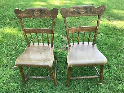 Antique Pennsylvania Dutch early 1800s Wooden Flank Chairs - Two Handpainted