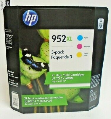 HP 952XL Genuine High Yield Ink 3 pack: Cyan-Magenta-Yellow