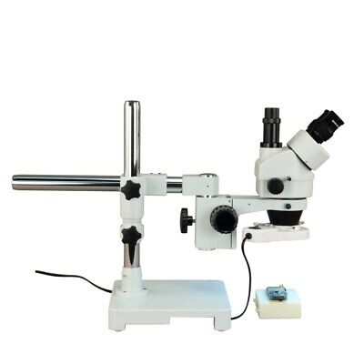 3.5X-90X Single-Bar Boom Stand Stereo Microscope+8W Fluorescent Ring Light New