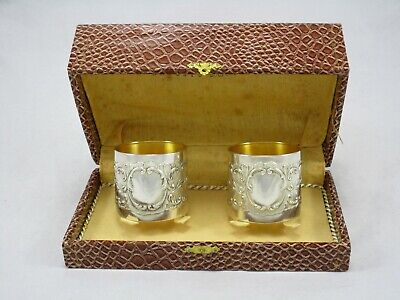 Pair of Antique Art Nouveau Argento 800 Silver Napkin Rings w/ Gold Wash in Box