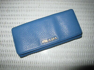 5cbe1ffa9d AUTHENTIC PRADA CONTINENTAL Flap Leather Wallet - Blue Gold Logo - $725 Euc  Rare