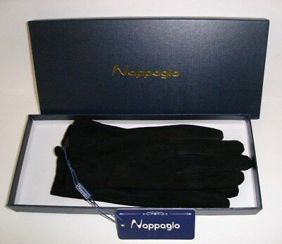 Nappaglo Women's 100% Italian Pigskin Leather Gloves Black Winter Gloves Small