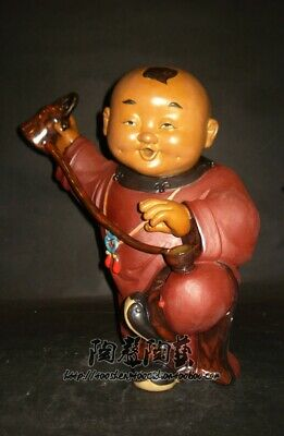 Rare Shiwan Wucai Porcelain Tongzi Kid Boy Teapot Flagon Cup Tea Ceremony Statue