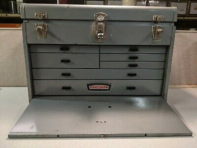 Vintage Craftsman Logo Gray Metal 7 Drawer Machinist Tool Box w/o Key Preowned