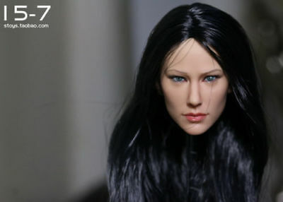 KUMIK Black Hair Head Model 1//6 scale Female Action Figure Head Sculpt KM18-48