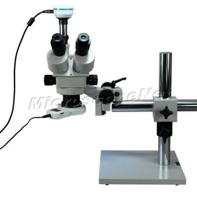 3.5X-90X Trinocular Stereo Zoom Boom Stand Microscope+2MP Camera+LED Ring Light