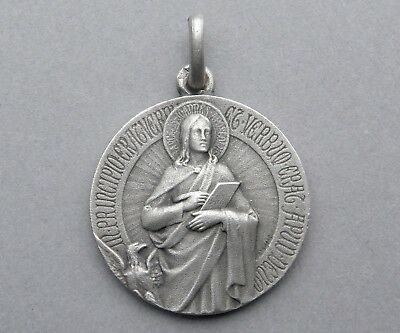 2e916493006 French, Antique Religious Sterling Medal. Saint John the Apostle. By  Tricard.