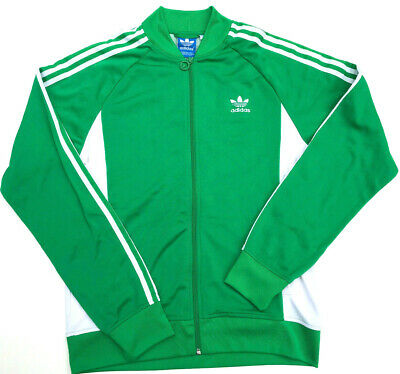 Men's Adidas Tracksuit Top Jacket Green/White Sweatshirt Size M LOOKS NEW