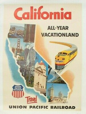 RY1 UNION PACIFIC vintage train poster US 1869 24X36 travel OLD FASHIONED rare