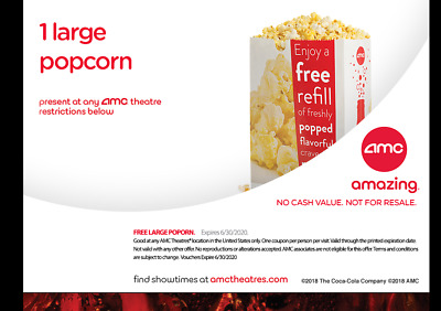 AMC Theater Large Popcorn  || Not-So-Fast E-Delivery - Exp 6/30/20