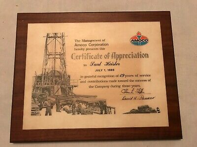 1986 AMOCO Certificate Of Appreciation Wood Plaque, 19 Years Service