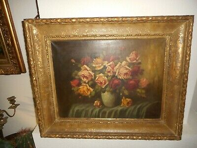 Large 19th century oil painting. Beautiful roses,signed, nice frame, is antique!