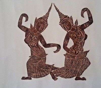 Exotic Thai Temple Rubbing Siamese Two Lady Welcome Dance Mulberry Paper Vintage