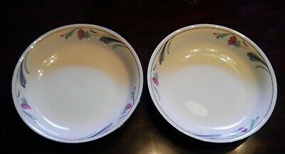 """2 Lenox Poppies On Blue Chinastone Pasta Soup Cereal Bowls 7 3/4"""""""