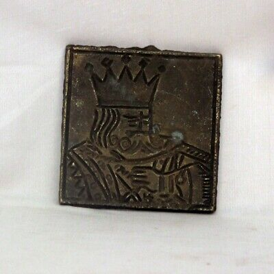 Vintage Brass Bell Metal Different King Of Card Engraved Pendant Dye  - 11233