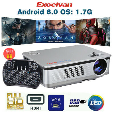 HD Smart Android Projector Home Cinema WiFi LED LCD Video Movie 1080p HDMI USB