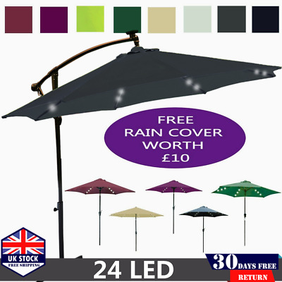3M/2.7M Garden Round Parasol LED Lights Umbrella Sunshade Patio Party Outdoor UK