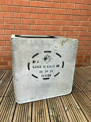 Large Vintage Stencilled Galvanised Water Tank, Garden Planter Coffee Table