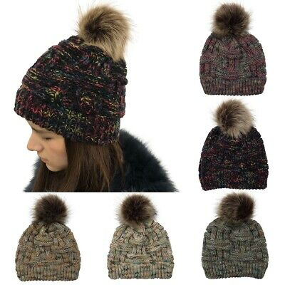 2019 New Womens Ponytail Beanie Ribbed Winter Messy Bun Cable Warm Soft Knit Hat
