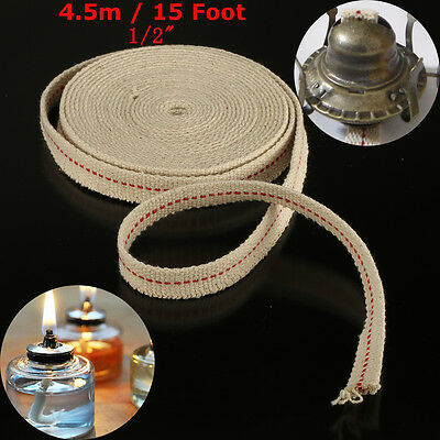 "1/2"" 15Ft 4.5m Flat Cotton Oil Lamp Wick Roll White For Oil Lamps and Lanterns !"