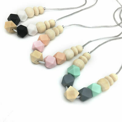 Hexagon Silicone Beads Teething Necklace Nursing Mom Jewelry Baby Chew Teether