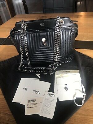 4fa016c505b Authentic Fendi Dot Com Designer Small Black Leather/Cross Bag With Purse  As New