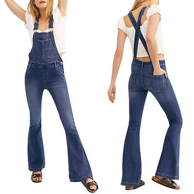 UK Womens Flared Denim Dungarees Jeans Ladies Bootcut Jumpsuit Overall Trousers